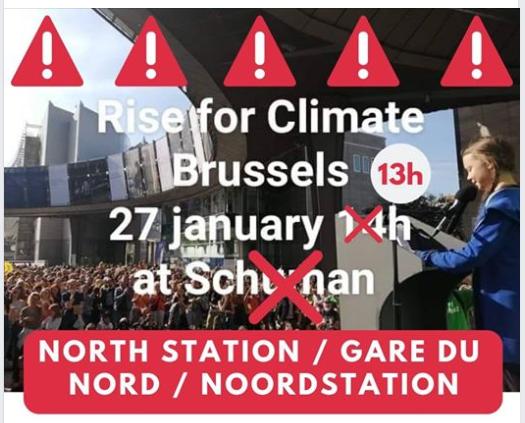 """""""Pas de loi climat ?"""" """"Pas de rue de la Loi"""" –  dimanche 27 janvier 2019"""